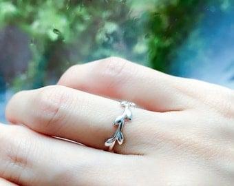 Elegant Olive Branch Ring Silver Ring Olive Leaf Ring Adjustable Ring Midi Ring Gift For Her