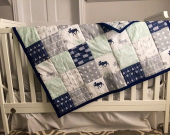 Navy & Grey Wildreness Wholecloth Quilt