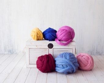 5 KG (11 lbs) Sale! Chunky thick yarn for blanket, Pure Merino wool, Giant Jumbo yarn, Super bulky yarn, DIY Arm knitting, felting, roving