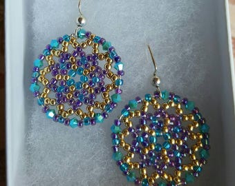 Beautiful Purple, Blue and Gold Handmade Beaded Earrings. Great for everyday use, holiday jewelry or any special occasion!!