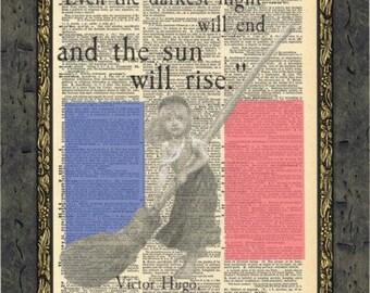Les Miserables quotes art print. Victor Hugo quotes print. Les Miserables gift. Vintage Print