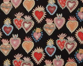 Heart and soul black fabric patchwork patterned cloth Sacred Heart sacred heart alexander henry mexico hearts cotton fabric