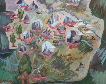 Yosemite National Park Map PRINTS