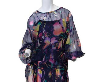 1970's Vintage Woman's Chiffon Casual Navy Blue Maxi Dress with Sheer Topper