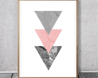 Pink Grey Print, Triangle Art, Digital download, Marble Wall Art, Girly Room Decor, Boho Nursery, Geometric Art Poster, Modern Tribal Print