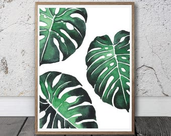Tropical Leaf Printable - Palm Leaf Print, Instant Download, Exotic Plant, Botanical Leaf, Large Wall Art, Digital Watercolour Art, Leaf Art