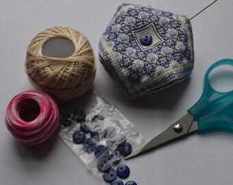 Handmade Completed Blackwork Compass Mini Biscornu Pincushion