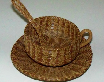 Pine Needle Basket Cup, Saucer, and Spoon