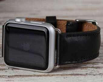 Black Apple Watch band, 42mm, 38mm, Leather Apple band, Apple watch strap, Leather Apple band, watch band 42mm, Apple watch series 1-2-3
