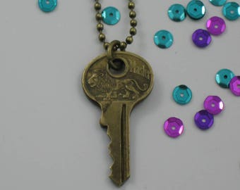 Vintage Lion Key Necklace
