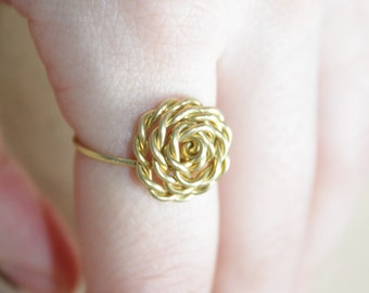 Rose Ring Rose Gold, 22K Gold, Sterling Silver Wire, Flower Girl, Stackable Love Knuckle Tie The Knot Ring, Girlfriend Gift, Bridesmaids