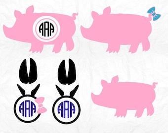 Show pig svg, Pig svg file, Pig svg, Farm animal svg, Pig Monogram svg, SVG Files, Cricut, Cameo, Cut file, Clipart, Svg, DXF, Png, Pdf, Eps