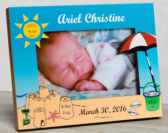 Personalized Baby Picture Frame, Baby Girl Picture Frame, New Baby Girl Frame, Baby Girl Frame, Baby Girl Birth Frame, Beach Picture Frame