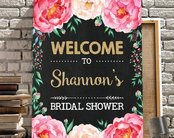 Floral Bridal Shower Welcome Sign. Pink Gold Chalkboard Wedding. Watercolor Flowers. Boho Shower Decor. Peonies. Chic Wedding Sign. FLO1
