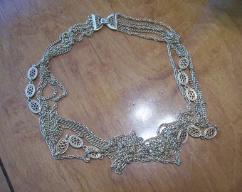Monet Five Strand Chain Necklace, Signed