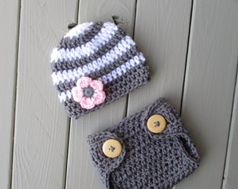 Newborn Girl Outfit Baby Girl Outfit Newborn Photo Outfit Newborn Crochet Hat Diaper Cover Set Newborn Photography Outfit Newborn Baby Girl