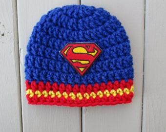 Superman Baby Hat Newborn Superman Hat Superman Baby Beanie Baby Boy Hat Crochet Baby Hat  Newborn Hat Newborn Photo Prop