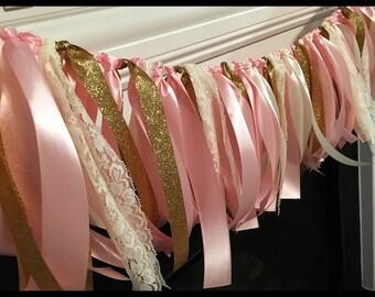 Pink Gold and Lace Garland, Birthday Garland Banner, Photo Prop, Birthday Banner, Pink and Gold Birthday