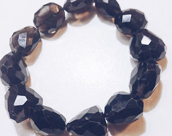 Smokey Quartz Faceted Nugget Beads