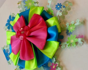 Flower Power Hot Pink, Royal Blue and Apple Green Posey Hair Clip - Over the Top Large