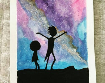 Rick and morty, space rick and morty, watercolor space, galaxy, adult swim, 9x12 watercolor