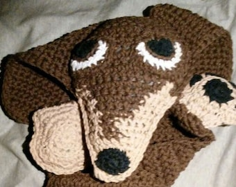 Crochet Doxie Dog Blanket Buddy for Babies and Toddlers