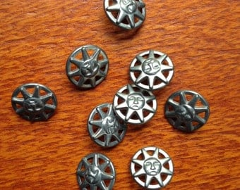 9 vintage pewter sun buttons, 20mm wide,  c1980s-90s