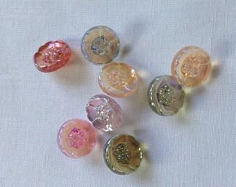 8 rainbow lustre vintage plastic flower buttons
