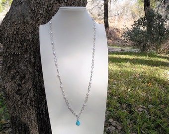 Genuine Turquoise and Freshwater Pearl Necklace Set