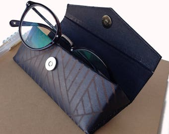 Leather Glasses Case - Black with Geometric design