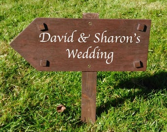 Personalised Wedding Direction Sign - Rustic Wooden Sign wedding arrow, road sign