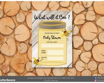 Baby Shower invites, Bee theme, Honey and Bee, Baby shower, printable, boy, girl, neutral, print my own, DIY invites, what will it bee?