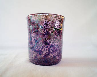 25 - Unique hand-blown drinking glass cup purple and blue twisted swirl pattern