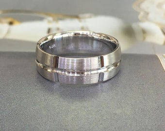 Double inlay 14k comfort fit wedding band