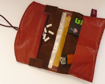 Tobacco pouch made of brown suede and sorrel smooth leather