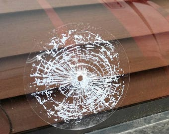 Bullet Hole Glass Effect - Attaches to smooth surface