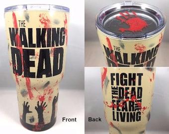 The Walking Dead Custom Powder Coated RTIC Tumbler,The Walking Dead Yeti Rambler,Custom 30oz RTIC Tumbler,The Walking Dead Powder Coated Cup