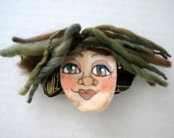 Green Angel Fairy Hair Barrette Clip, Ponytail Holder Clip, WhimsicalJD