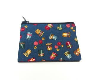 Change Purse Pouch Wallet Card Holder Zipper Blue Thimbles