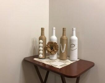 Neutral Rustic Home Decor, Rustic Wine Bottle Decor, LOVE Decor, Home Decorations