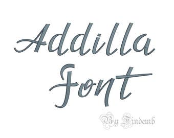 Addilla Embroidery Font Designs 4 size Instant Download