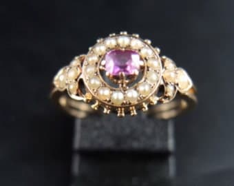 Price Reduced - Antique Ruby ( maybe synthetic ) and Natural Pearls Ring. US size 5
