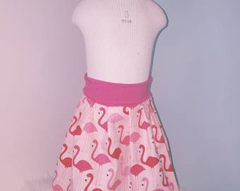 Scalable skirt, 6-12 months. Flamingos