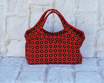 Small red black carpet bag - Vintage purse -  Vintage handbag - Retro purse - Fabric purse - Woman's purse - Vintage boho purse