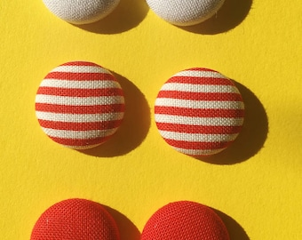 Trio- White, Red and Striped Fabric Button Earrings