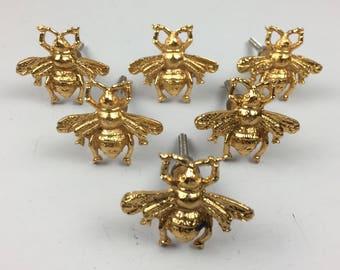 Set 6 X GOLDEN BEE KNOBS - Knob Home decor drawer pull