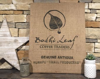Framed burlap coffee sack bag