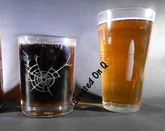 Custom Etched bullet glass - custom caliber - beer glass - Rock glass - shooting