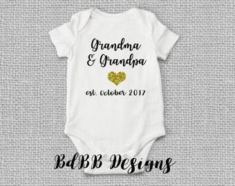 Grandparent Reveal Pregnancy Announcement Onesie / Grandma Grandpa Pregnancy Reveal Onesie / Congrats Grandparents / In-Law Pregnancy Reveal