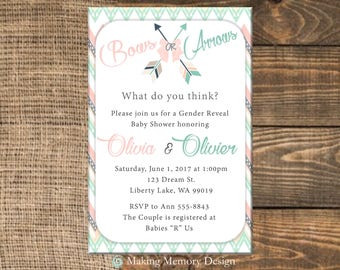 Bows or Arrows Gender Reveal Baby Shower Invitation